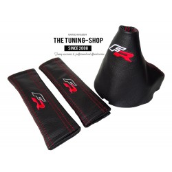 """FOR SEAT IBIZA 2009-2013 GEAR GAITER BLACK LEATHER RED """"FR"""" EMBROIDERY"""