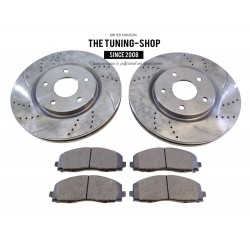 2x Brake Disc Rotor Front 53068A & Brake Pads D1589 CBK For Chryser Town & Country Dodge Journey
