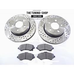 2x Front Brake Disc Rotors 53042A Drilled & Brake Pads D1273 CBK For Dodge Nitro Jeep Liberty
