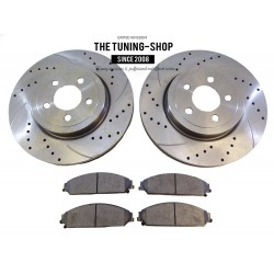 2x Front Brake Disc Rotor 53023A Brake Pads D1058 CBK For Chrysler 300C Dodge Challenger Charger