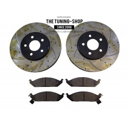 2x Front Brake Disc Rotor 5361A & Brake Pads D650 CBK For Chrysler Cirrus Dodge Stratus Plymouth Breeze