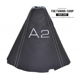 FOR AUDI A2 GEAR GAITER BLACK LEATHER EMBROIDERY GREY STITCHING