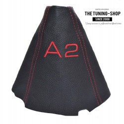 FOR AUDI A2 GEAR GAITER BLACK LEATHER EMBROIDERY RED STITCHING