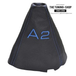 FOR AUDI A2 GEAR GAITER BLACK LEATHER EMBROIDERY BLUE STITCHING