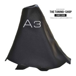 FOR  FOR AUDI A3 2001-2012 GEAR GAITER BLACK LEATHER GREY STITCHING EMBROIDERY