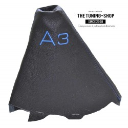 FOR AUDI A3 2001-2012 GEAR GAITER BLACK LEATHER BLUE STITCHING EMBROIDERY