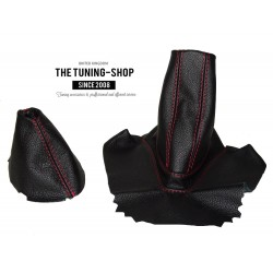 FOR BMW Z4 E85 E86 manual GEAR & HANDBRAKE (ARMREST) GAITER BLACK LEAER RED STITCHING