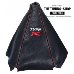 FOR HONDA CIVIC 3D MK6 95-00 or COUPE GEAR GAITER BLACK LEATHER RED STITCHING EMBROIDERY TYPE R