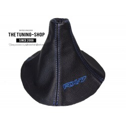 FOR MAZDA RX-7 RX7 GEAR GAITER BLACK LEATHER BLUE STITCHING EMBROIDERY