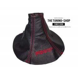 FOR MAZDA RX-7 RX7 GEAR GAITER BLACK LEATHER RED STITCHING EMBROIDERY
