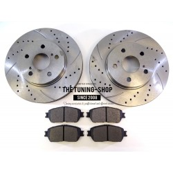 2x Brake Disc Rotor Front Right Left 31314A AS TEC Drilled For TOYOTA AVALON CAMRY SIENNA