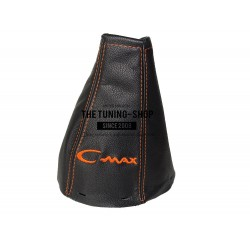 FOR  FORD FOCUS C-MAX 2003-2007 GEAR GAITER BLACK LEATHER ORANGE EMBROIDERY