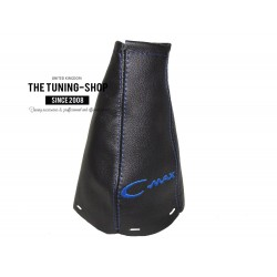 FOR  FORD FOCUS C-MAX 2003-2007 GEAR GAITER BLACK LEATHER BLUE EMBROIDERY