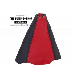 FOR AUDI 80 B3/B4 GEAR GAITER SHIFT BOOT BLACK-RED LEATHER NEW