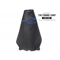 """FOR FORD FIESTA MK7 08-13 GEAR GAITER BLACK LEATHER BLUE """"CAR"""" EMBROIDERY"""