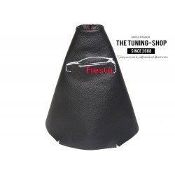 FOR FORD FIESTA 2014-ONWARDS GEAR GAITER BLACK LEATHER EMBROIDERY CAR RED STITCHING