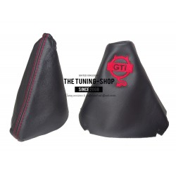 "FITS VOLKSWAGEN GOLF 7 JETTA 2013-2016 GEAR GAITER BLACK LEATHER RED ""DEVIL"" Embroidery"