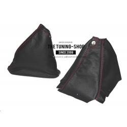 FOR  NISSAN SKYLINE R34 GTS GTR 1998-2002 BLACK LEATHER GEAR HANDBRAKE GAITER RED STITCHING