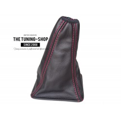 FOR TOYOTA RAV 4 2006-09 6 SPEED GEAR GAITER SHIFT BOOT BLACK LEATHER RED STITCH