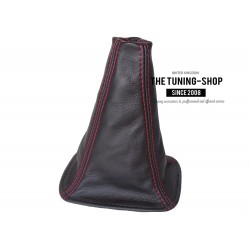 FOR TOYOTA RAV 4 2001-03 GEAR GAITER SHIFT BOOT BLACK LEATHER RED STITCH