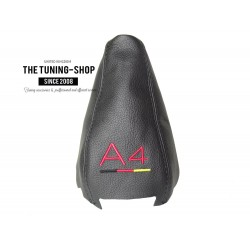 FOR AUDI A4 B7 2005-2007 BLACK LEATHER GEAR GAITER RED STITCHING GERMAN QUATTRO EMBROIDERY