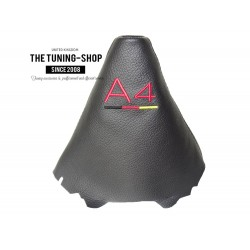FOR AUDI A4 B8 2008-2015 BLACK LEATHER GEAR GAITER WITH STYLE SLINE EMBROIDERY