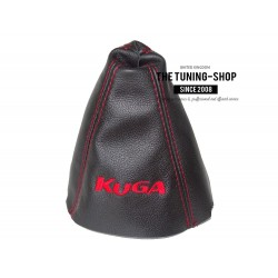 FOR FORD KUGA 2012-2016 GEAR GAITER BLACK LEATHER RED EMBROIDERY
