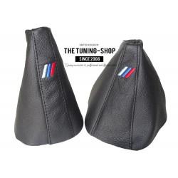 FOR BMW E39 5 SERIES GEAR & HANDBRAKE GAITER BLACK LEATHER M3 STITCHING