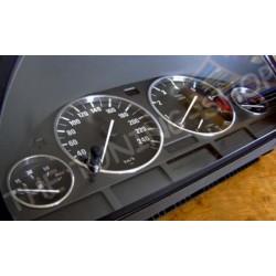 FOR BMW E38 E39 X5 ALUMINIUM SPEEDO DIAL RINGS SURROUNDS SET NEW