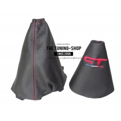 FOR RENAULT MEGANE MK3 2008-2015 GEAR & HANDBRAKE GAITER BLACK LEATHER RED GT