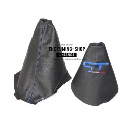 FOR RENAULT MEGANE MK3 2008-2015 GEAR & HANDBRAKE GAITER BLACK LEATHER BLUE GT