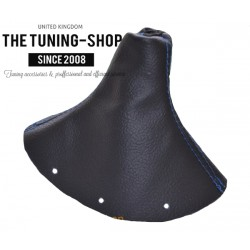 FOR AUDI TT 98-06 GEAR GAITER SHIFT BOOT BLACK LEATHER BLUE STITCHING