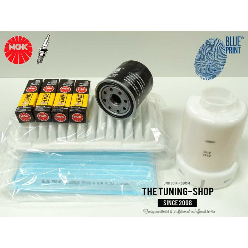 Premium Service Kit for Toyota Yaris Vitz 1.3 16V 86HP 99-05 Air Cabin Fuel Oil Filters & Spark ...