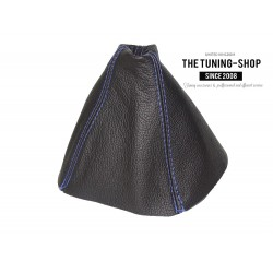 FOR VAUXHALL ASTRA MK5 H 2005-2009 GEAR GAITER BLACK LEATHER BLUE STITCHING