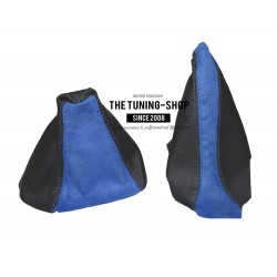 FOR ASTRA MK5 H GEAR+HANDBRAKE GAITERS BLUE SUEDE BLACK LEATHER