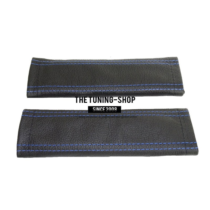 Seat Belt Covers Genuine Black Leather Blue Stitching
