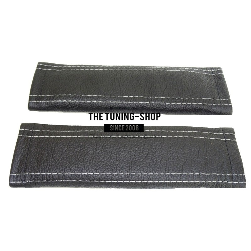 Seat Belt Covers X 2 Genuine Black Leather With Light Grey