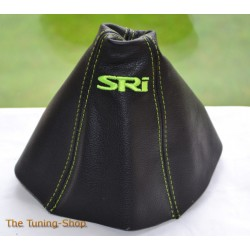 VAUXHALL ASTRA MK5 H 2005-2009 GEAR GAITER BLACK LEATHER embroidery SRI LIME GREEN STITCHING