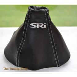 VAUXHALL ASTRA MK5 H 2005-2009 GEAR GAITER BLACK LEATHER embroidery SRI GREY STITCHING