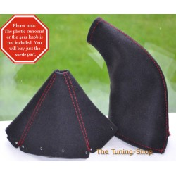 MAZDA MX5 MIATA GAITERS BOOTS BLACK ALCANTARA SUEDE RED STITCH