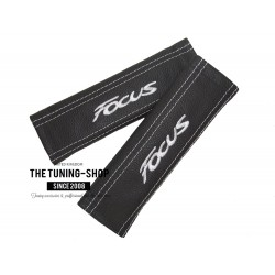 "2 X SEAT BELT HARNESS COVERS PADS BLACK LEATHER ""Focus"" BLUE EMBROIDERY"