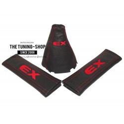 "FOR HONDA CIVIC MK8 SEDAN COUPE Si FA FD FG 06-11 GEAR GAITER SHIFT BOOT LEATHER ""EX"" Embroidery"