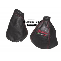 "FOR ALFA ROMEO SPIDER 2006-10 GEAR & HANDBRAKE GAITER BLACK LEATHER ""SPIDER"" EMBROIDERY"