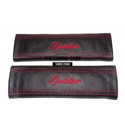 "2 X SEAT BELT COVERS PADS LEATHER ""SPIDER"" RED EMBROIDERY FOR ALFA ROMEO"