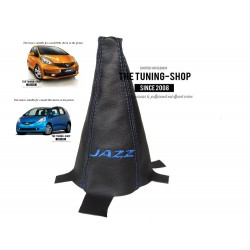 FOR HONDA JAZZ 2009-2013 GEAR GAITER BLACK LEATHER BLUE STITCHING
