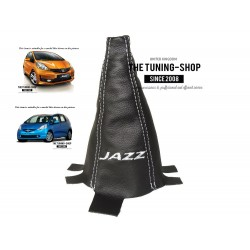 "FOR HONDA JAZZ 2009-2013 GEAR GAITER BLACK LEATHER BLUE ""JAZZ"" EMBROIDERY"