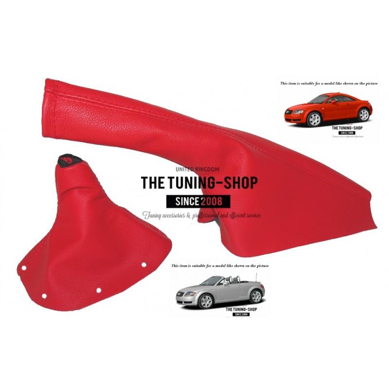 for Audi TT 98-06 Shift /& E Brake Boot Black Genuine Leather Red Stitching