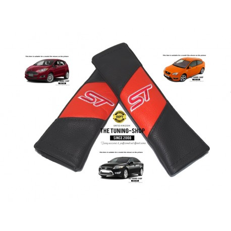 Seat Belt Harness Covers Pads Leather Black Amp Orange Quot St