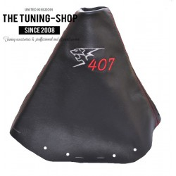 FOR PEUGEOT 407 GEAR GAITER BLACK LEATHER EMBROIDERY RED STITCHING