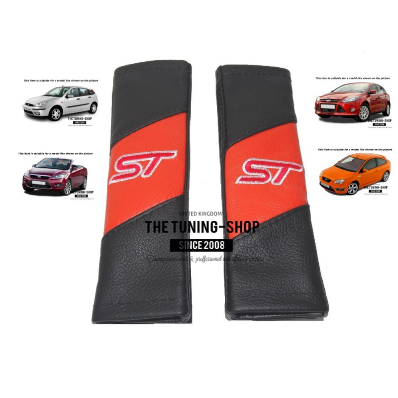 """SEAT BELT HARNESS COVERS PADS LEATHER BLACK & ORANGE """"ST"""" STYLE EMBROIDERY FOR FORD - The Tuning ..."""